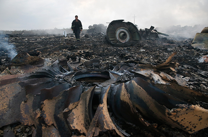 An Emergencies Ministry member walks at a site of a Malaysia Airlines Boeing 777 plane crash near the settlement of Grabovo in the Donetsk region, July 17, 2014. (Reuters / Maxim Zmeye)