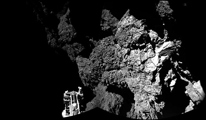 An image taken by Rosetta's lander Philae on November 13, 2014. (AFP Photo / ESA / Rosetta / Philae / CIVA)