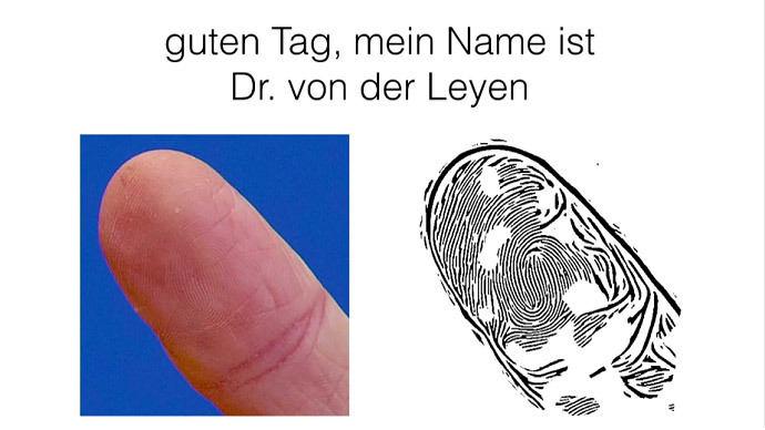 A photo of German Defense Minister Ursula von der Leyen's thumb (screenshot from YouTube/CCCdeVideos)