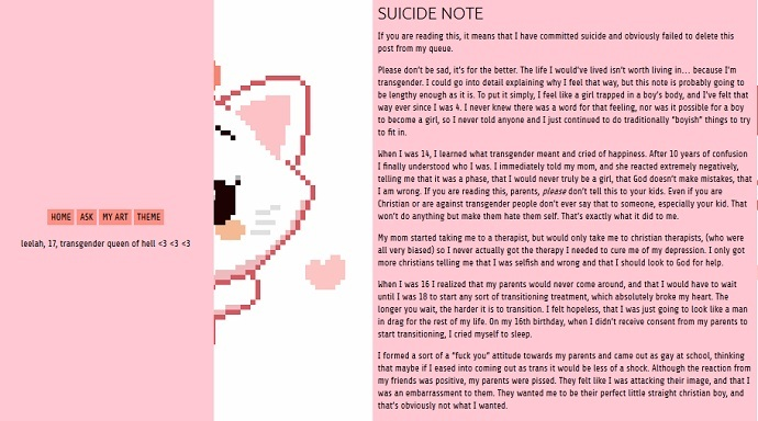 Screenshot of Leelah Alcorn's suicide note, posthumously posted on Tumblr