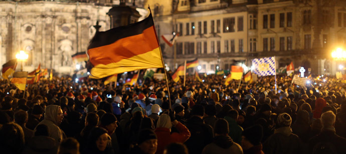 "Protestors of the ""Patriotic Europeans Against the Islamisation of the Occident"" (PEGIDA) demonstrate in Dresden, eastern Germany, on December 22, 2014.(AFP/DPA)"