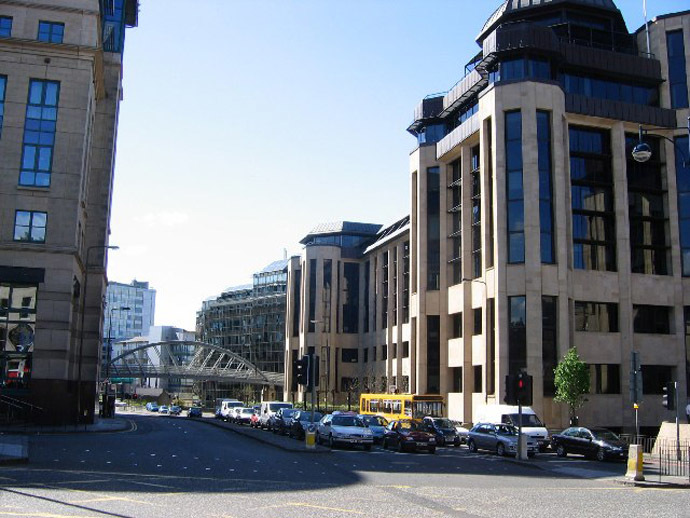 Offices in the new financial district in the west of Edinburgh city centre. (Photo from Wikipedia.org)