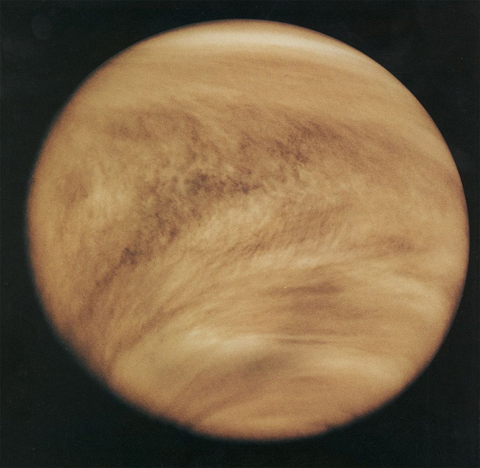 Cloud structure in the Venusian atmosphere in 1979, revealed by observations in the ultraviolet band by Pioneer Venus Orbiter (Image from wikipedia.org)
