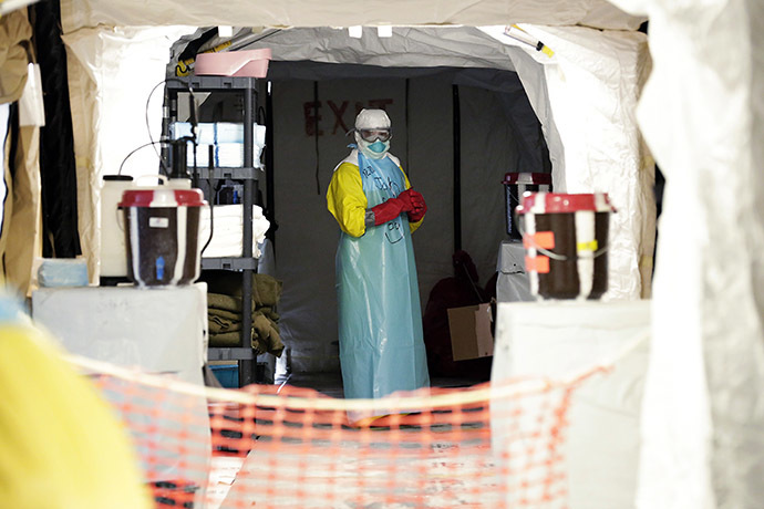 A medic is seen at an Ebola medical unit. (Reuters/Evan Schneider)