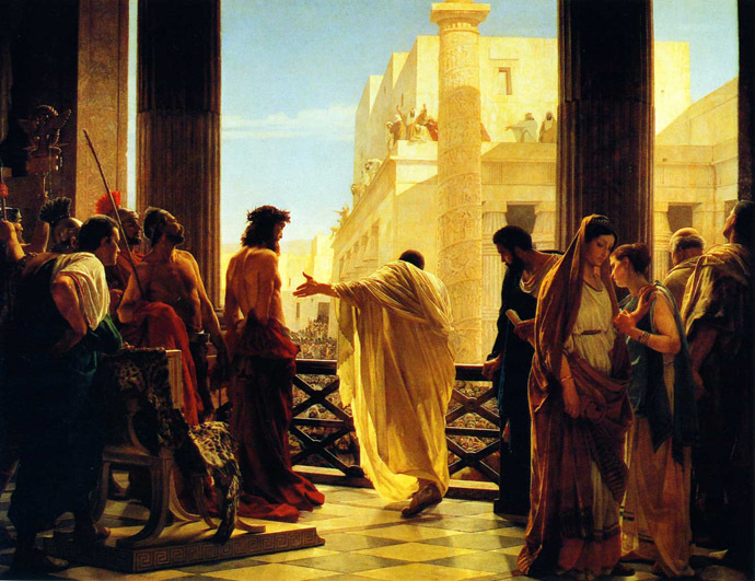 Antonio Ciseri's depiction of Pontius Pilate presenting a scourged Christ to the people Ecce homo! (Behold the man!). (Image from Wikipedia.org)