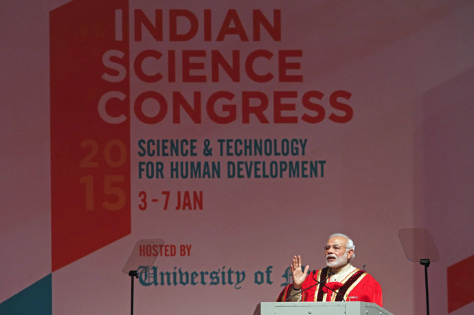 Indian Prime Minister Narendra Modi speaks during the inauguration of the 102nd Indian Science Congress in Mumbai January 3, 2015. (Reuters/Shailesh Andrade)