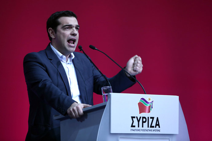 Alexis Tsipras, leader of the radical leftist party Syriza, delivers a speech during a congress of the party in Athens, on January 3, 2015. (AFP Photo)