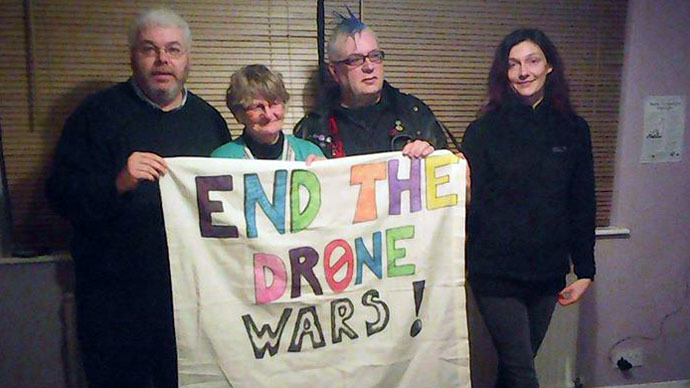 Peace activists protest 'brutal UK drone warfare' at RAF base, 4 arrests