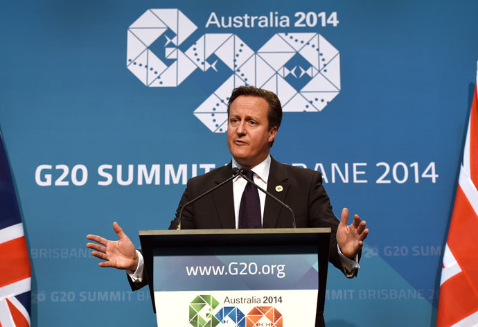 Britain's Prime Minister David Cameron speaks during a press conference on the final day of the G20 Leaders' Summit in Brisbane on November 16, 2014. (AFP Photo)