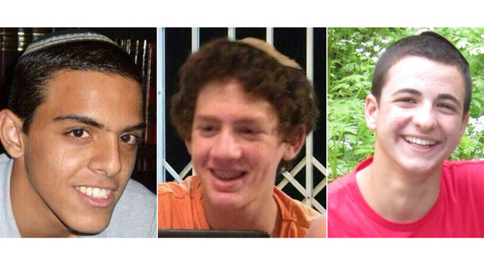 A combination of undated family handout pictures made on June 18, 2014 shows the three Israeli teenagers believed kidnapped by Palestinian militants, (From L to R) Eyal Yifrach, 19, Naftali Frenkel, 16 and Gilad Shaar, 16.(AFP Photo / Family Handout)