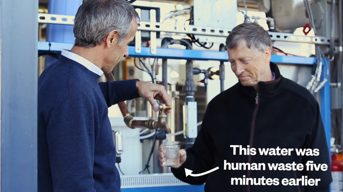 Bill Gates drinks cup of water that used to be human poop (VIDEO)