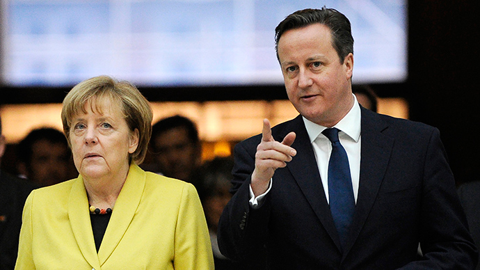 ​Merkel visits Cameron ahead of critical UK election