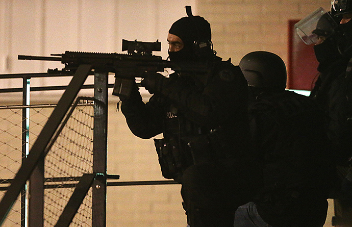 Police are seen during an operation in the