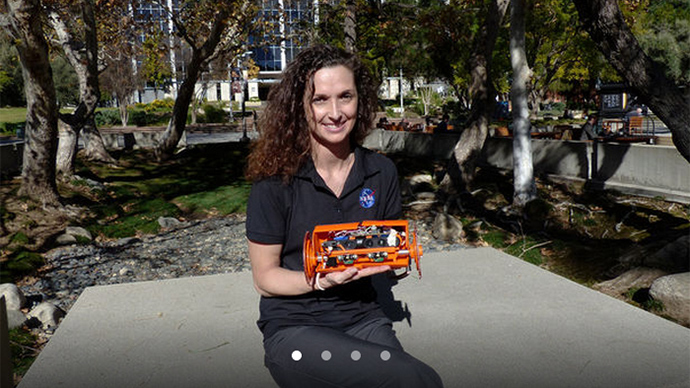 Carolyn Parcheta, a postdoctoral fellow at NASA's Jet Propulsion Laboratory, plans to take this robot, VolcanoBot 2, to explore Hawaii's Kilauea volcano in March 2015 (NASA / JPL-Caltech)