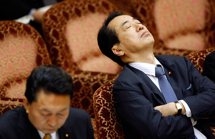 Japan's Finance Minister Naoto Kan (R), next to Prime Minister Yukio Hatoyama, attends the Upper House Budget Committee at the parliament in Tokyo March 10, 2010 (Reuters / Yuriko Nakao)
