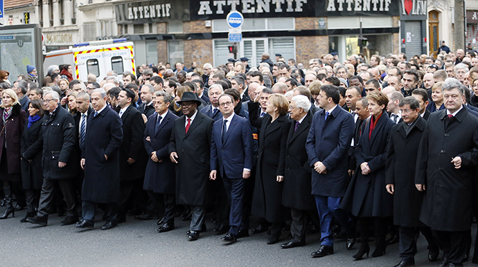 """A Unity rally """"Marche Republicaine"""" in Paris on January 11, 2015 in tribute to the 17 victims of a three-day killing spree by homegrown Islamists (AFP Photo / Patrick Kovaric)"""