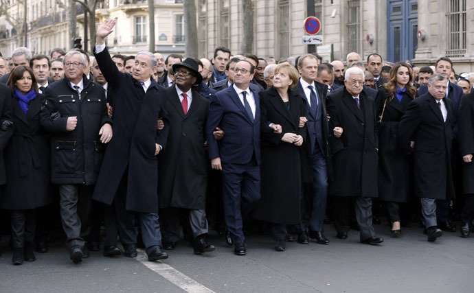 """(From L) The Mayor of Paris Anne Hidalgo, European Commission President Jean-Claude Juncker, Israeli Prime Minister Benjamin Netanyahu, Malian President Ibrahim Boubacar Keita, French President Francois Hollande, German Chancellor Angela Merkel, European Union President Donald Tusk, Palestinian president Mahmud Abbas, Jordan's Queen Rania and King Abdullah II and Italian Prime Minister Matteo Renzi take part in a Unity rally """"Marche Republicaine"""" in Paris on January 11, 2015 in tribute to the 17 victims of a three-day killing spree by homegrown Islamists. (AFP Photo)"""