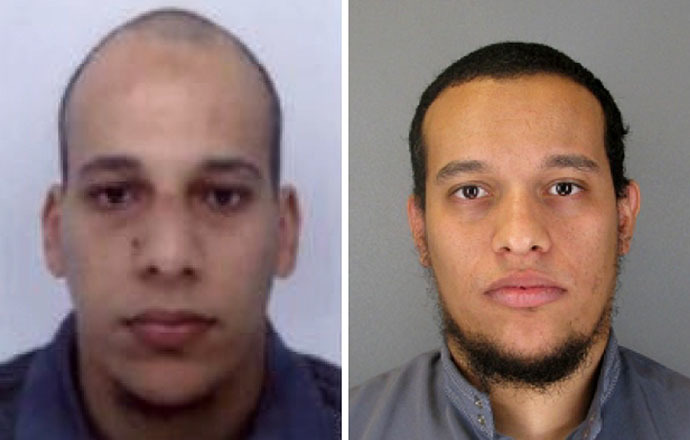 This combo shows handout photos released by French Police in Paris early on January 8, 2015 of suspects Cherif Kouachi (L), aged 32, and his brother Said Kouachi (R), aged 34, wanted in connection with an attack at the satirical weekly Charlie Hebdo in the French capital that killed at least 12 people. (AFP Photo)