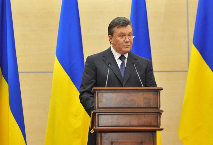 Viktor Yanukovich speaks at a news conference in Rostov-on-Don. (RIA Novosti/Sergey Pivovarov)