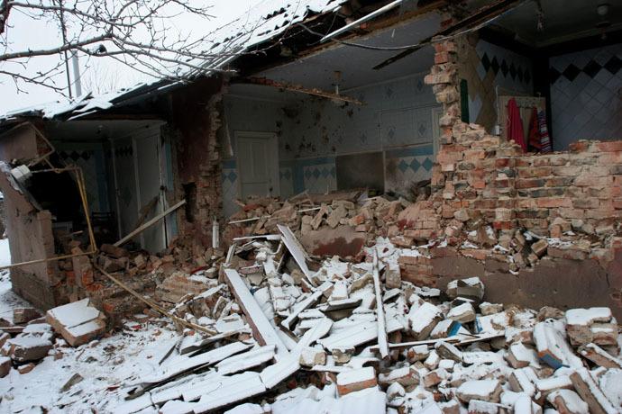 A private house in Petrovsky District of Donetsk city damaged in the shelling on January 5, 2015. (RIA Novosti/Igor Maslov)