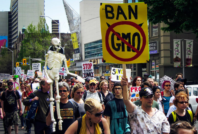 "A protester holds a sign reading ""Ban GMO"" (Genetically Modified Organism) in the ""March Against Monsanto"" in Toronto (Reuters / Mark Blinch)"