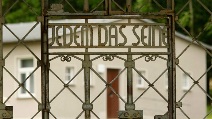 The camp gate bearing the inscription 'To Each His Own' is pictured at the former Buchenwald Nazi concentration camp near the eastern German city of Weimar in Thuringia.(Reuters / Ina Fassbender)