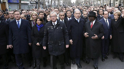 French President Francois Hollande (2-R) is surrounded by heads of state including Britain's PM David Cameron , Israel's PM Benjamin Netanyahu (4-R) and Germany's Chancellor Angela Merkel (R) at a solidarity march in Paris on January 11, 2015 (AFP Photo / Philippe Wojazer)