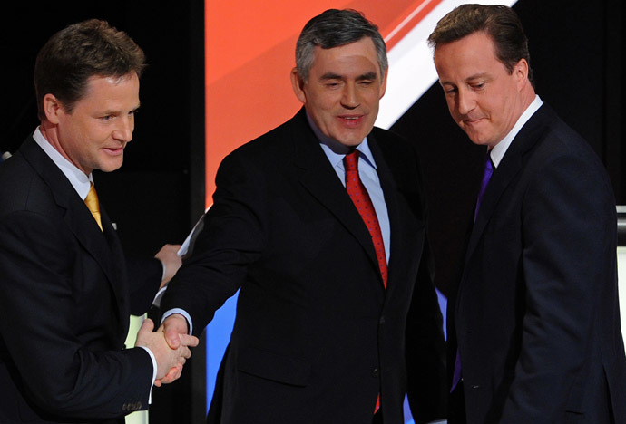 Nick Clegg (L), Gordon Brown (C), and David Cameron (R) at 2010 leadership debates (AFP Photo/Stefan Rousseau)