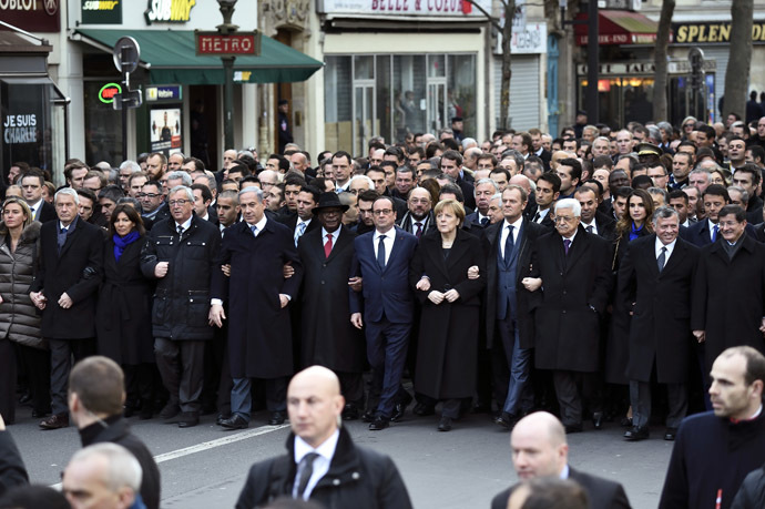 "Heads of states and officials march during the Unity rally ""Marche Republicaine"" on January 11, 2015 in Paris (AFP Photo/Eric Feferberg)"