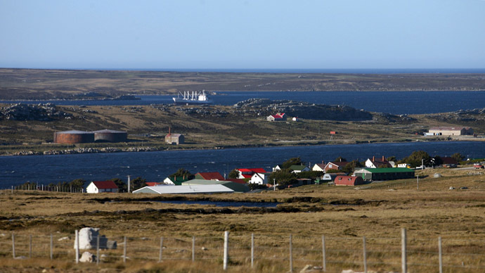 View of Stanley from the route to Mount Pleasant, Falklands. (AFP Photo/Daniel Garcia)