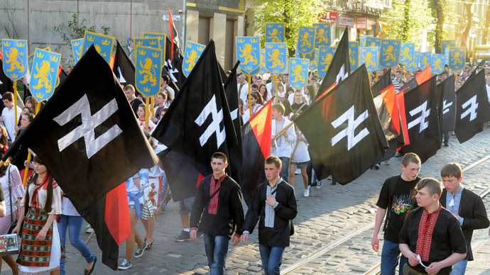 Supporters of the Ukrainian nationalist movement rally in downtown Lviv on April 28, 2012 to mark the 68th anniversary of the formation of the Ukrainian Galacian Division of the Waffen SS (AFP Photo / Yuriy Dyachyshyn)