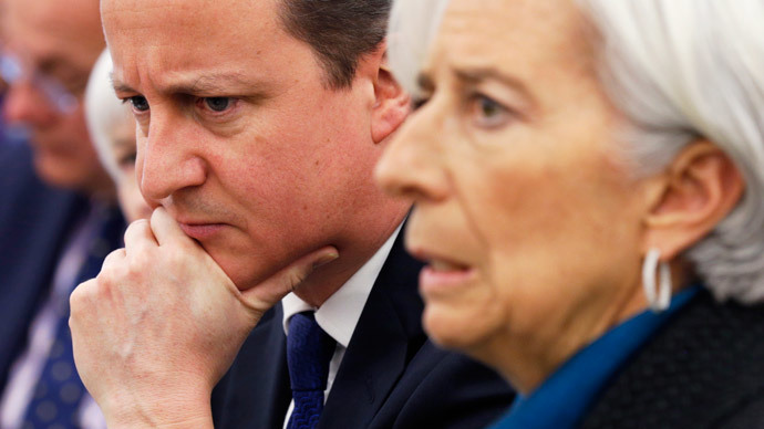 British Prime Minister David Cameron listens as International Monetary Fund (IMF) Managing Director Christine Lagarde (R).(Reuters / Kevin Lamarque)