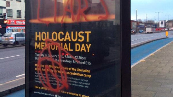 Holocaust memorial posters daubed with anti-Semitic graffiti