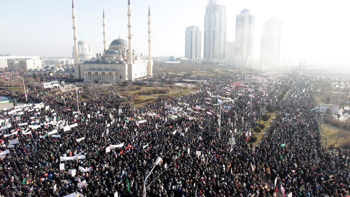 'Love to Prophet Mohammed': Crowds protest Charlie Hebdo cartoons in Chechnya