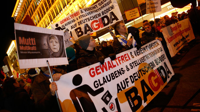 Members of BAGIDA, the Bavarian section of the anti-immigration movement Patriotic Europeans Against the Islamisation of the West (PEGIDA), march in the centre of Munich, January 19, 2015. (Reuters / Michael Dalder)