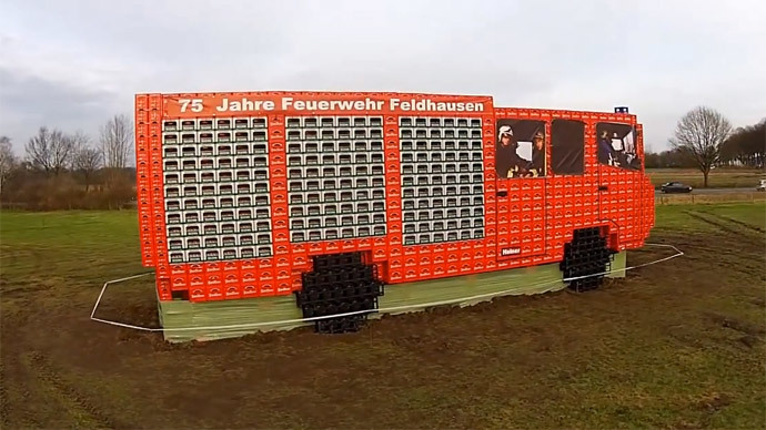 No small beer: German firefighters make XXL truck with ale crates (VIDEO)