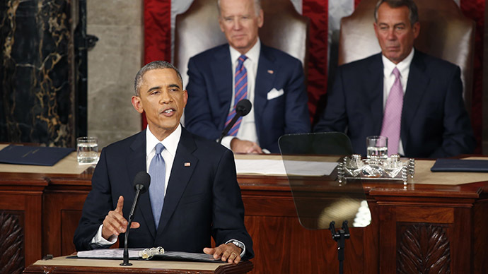 U.S. Vice President Joe Biden and Speaker of the House John Boehner (R) watch as U.S. President Barack Obama delivers his State of the Union address to a joint session of the U.S. Congress on Capitol Hill in Washington, January 20, 2015. (Reuters/Larry Downing)