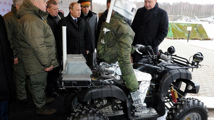 Russian avatar cyborg, crack shot & quad bike rider, meets Putin (VIDEO)
