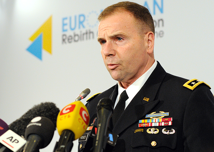 The commander of the US Army in Europe, Lieutenant General Ben Hodges during press-conference in Ki?v (RIA Novosti / Alexander Maximenko)