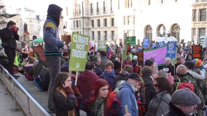 'Wrap up Trident!': Protest in London against £100bn nuke replacement plan