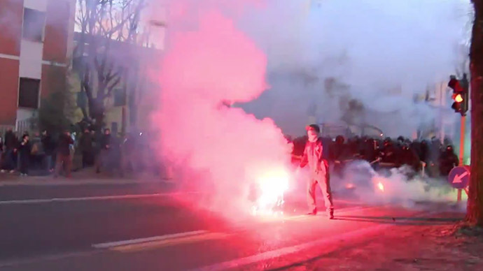 Boiling point: Hundreds of anti-fascist protesters clash with police in Italy