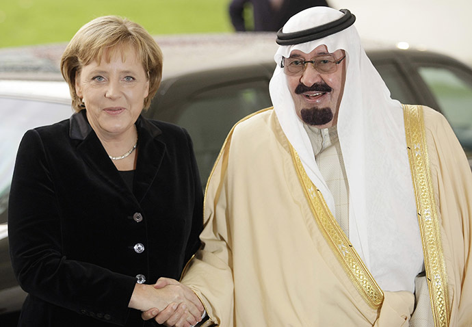 German Chancellor Angela Merkel and Saudi Arabia's King Abdullah. (Reuters/Hannibal Hanschke)