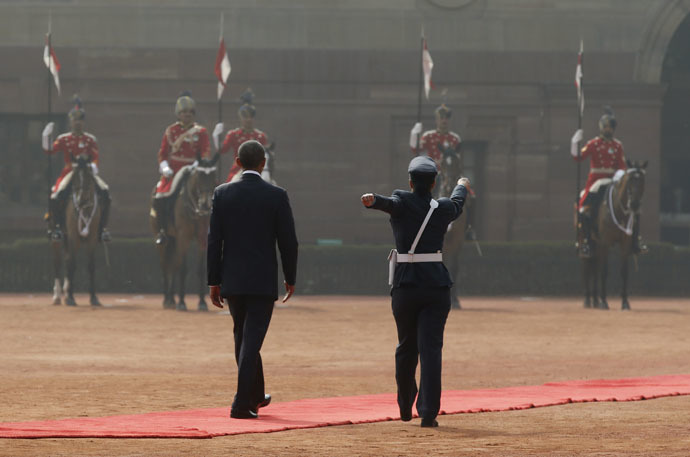 A female Indian officer marches beside Obama as he reviews Indian troops at the Rashtrapati Bhavan presidential palace, New Delhi, January 25, 2015. (Reuters/Jim Bourg)