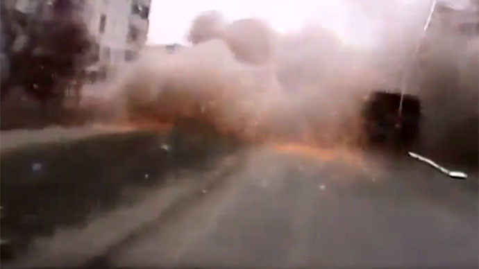 Inches away from death: Mariupol shelling caught on dashcam