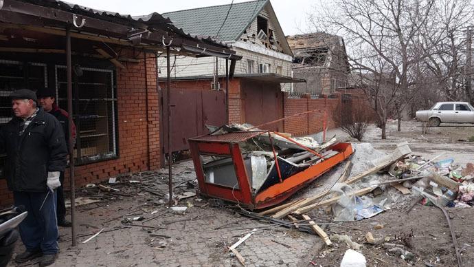 Residential buildings damaged during a shelling of Mariupol. (RIA Novosti/Nikita Sergeyev)
