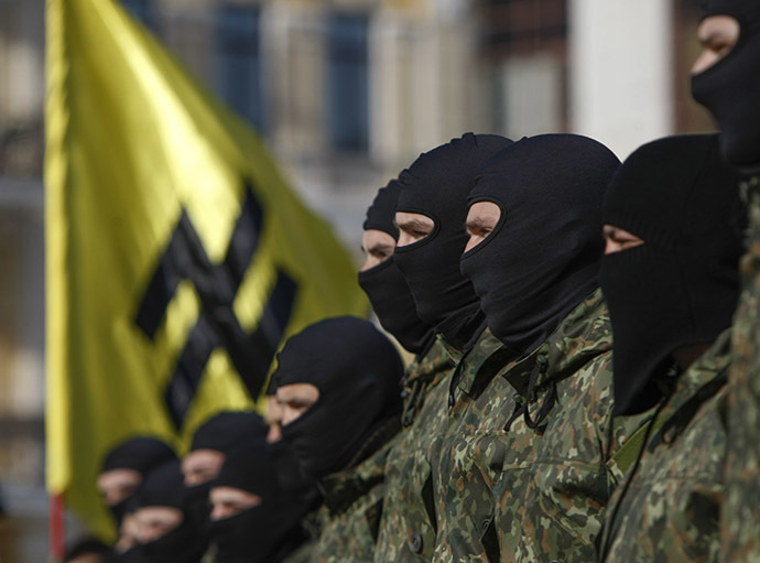 "Volunteers for the Ukrainian interior ministry's ""Azov"" battalion. (Reuters/Valentyn Ogirenko)"