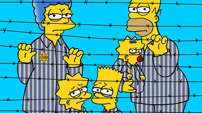 The Simpsons go to Auschwitz in Italian artist's new series
