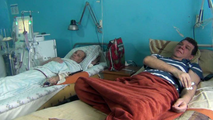 Kidney dialysis patients in Gorlovka Hospital, eastern Ukraine. Screenshot from RT video