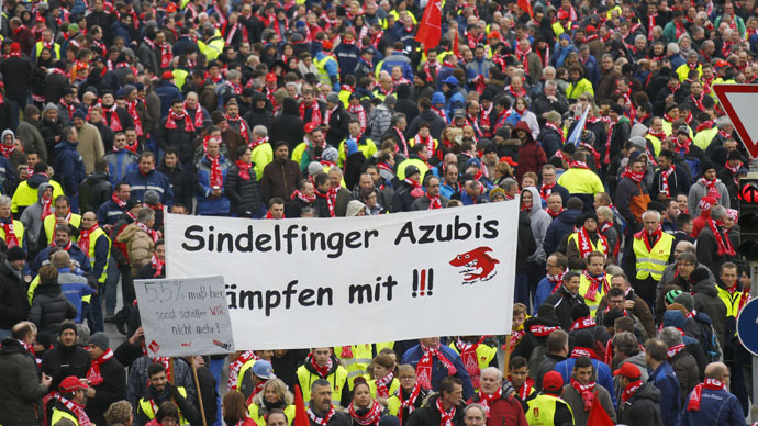 70,000 German engineering workers go on strike, demand fair pay rise (PHOTOS, VIDEO)