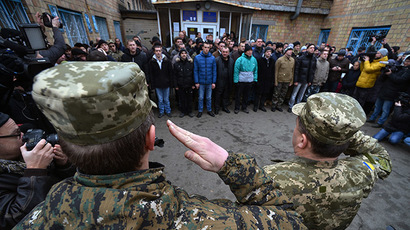 Persons conscripted to the Ukrainian army seen at one of the recruiting points in Kiev. (RIA Novosti/Evgeny Kotenko)